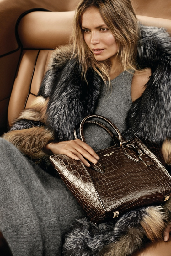 An ad visual from the Michael Kors fall 2015 campaign featuring Natasha Poly.