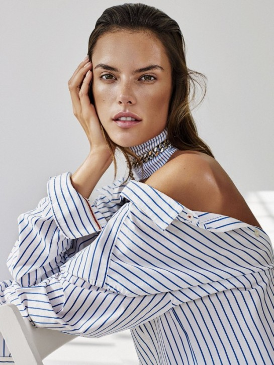Alessandra Ambrosio rocks stripes for Glamour US January 2016 by Alique -thicker stripes